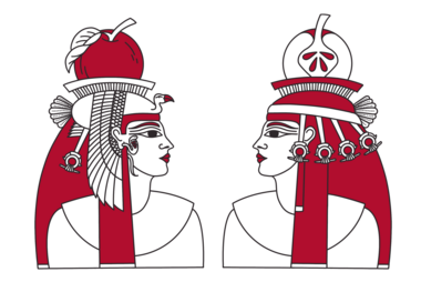 Illustration of two Egyptian-looking people with an apple on top of their head; by Stefanie Kreuzer, b13 GmbH (CC BY-SA 4.0)