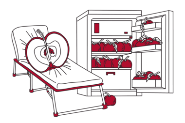 Illustration of an apple on a sickbed next to a refrigerator; by Stefanie Kreuzer, b13 GmbH (CC BY-SA 4.0)