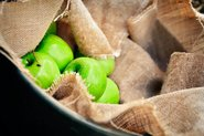 Green apples in bag; Photo by Pexels, Michelle Riach