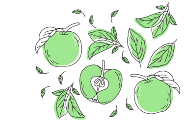 Illustration of green apples; by Stefanie Kreuzer, b13 GmbH (CC BY-SA 4.0)